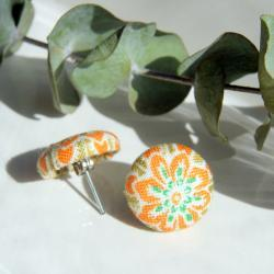Orange Flower Fabric Button Covered Stud Earrings