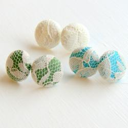 White Lace Fabric Stud Earrings - Set of Three